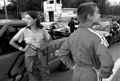 Groveton, N.H. - 08-25-12- Jenna Randall (cq), 14, and Dylan Laleme (cq), 12, wait for their race to begin at Riverside Speedway in Groveton, N.H. One night when Jenna was 11, as her father was tucking her into bed she told him,