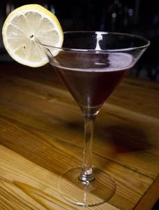 The Harvest Moon, a drink made from house infused gin with breakfast tea, Luxarado cherry syrup, citrus and creme de cassis.
