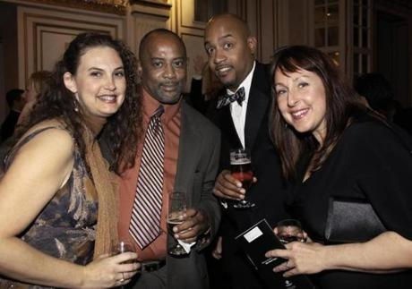 11-17-2012 Boston, Mass. 300 guests attended the 25th Annual Grand Drawing to benefit Boys and Girls Clubs of Dorchester, the event was held at the Fairmont Copley Plaza Hotel and raised 400,000 dollars. L. to R. are Kelly Parrish and Tony Mosley of Randolph with Chris and Jes Rooks of Jamaica Plain. Globe photo by Bill Brett
