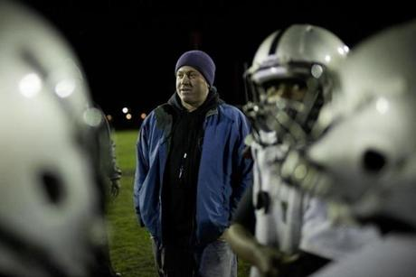Vega, of Dorchester, recently completed his fifth year of coaching Pop Warner.