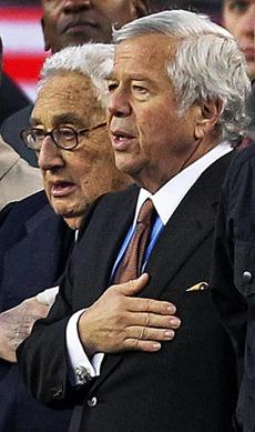11/18/12 Foxborough, MA: PRE GAME..........Patriots owner Robert Kraft (right) was joined on the sidelines during the singing of the national anthem by former United States Secretary of State Henry Kissinger (left). The New England Patriots hosted the Indianapolis Colts in a regular season NFL game at Gillette Stadium. section:sports topic: Colts-Patriots (Jim Davis/Globe Staff)