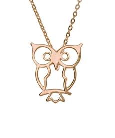 Rose gold-plated owl necklace by Samantha Faye, $64 at Flat of the Hill, 60 Charles Street, Boston, 617-619-9977, flatofthehill.com