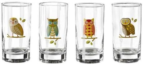 Owl glasses, $16.95 for a set of 4 at Paper Source, 338 Boylston Street, Boston, 617-536-3444; 1361 Beacon Street, Brookline, 617-264-2800; and 1810 Massachusetts Avenue, Cambridge, 617-497-1077; paper-source.com