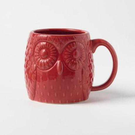 Figurative owl mug, $10 at West Elm, 160 Brookline Avenue, Boston, 617-450-9500, and Wayside Commons, Burlington, 781-221-5626; westelm.com
