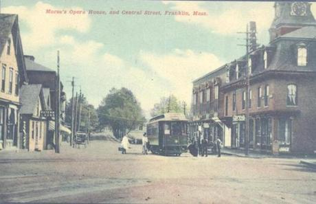 Postcard of Central Street, Franklin, circa 1900. The Morse Opera House is on the right.