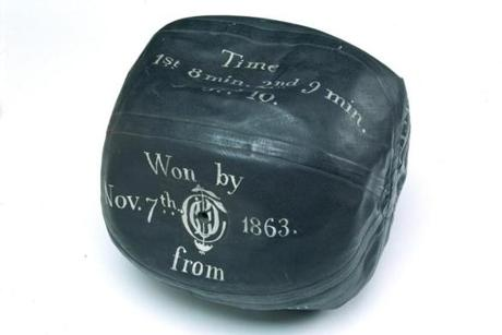 The football used by the Oneida Club on Boston Common in 1863 was shaped like a box with its edges rounded off.