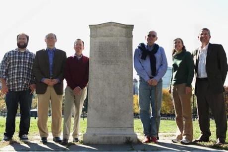 Descendants of the players at the marker last month, with Oneida club president Tom McGrath: Koby Elias (great, great grandson of John Malcolm Forbes), Abbott Lawrence (distant cousin of Lawrence), Christopher Boit (Robert Apthorp Boit's great grandson), McGrath, Linda Moore (great granddaughter of Peabody), and Stephen Bowditch (great great grandson of Bowditch).