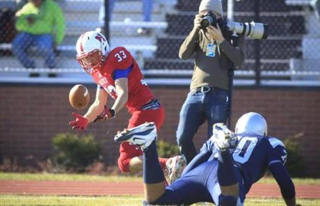 Natick's Gus Black almost dropped the ball during the fourth quarter.