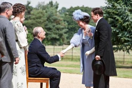 "Bill Murray as FDR greets England's Queen Elizabeth and King George VI (played by Olivia Colman and Samuel West) in a scene from the upcoming movie ""Hyde Park on Hudson."""