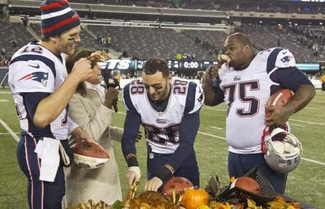 Brady, Gregory, and Vince Wilfork joined television broadcaster Michele Tafoya for a Thanksgiving tradition of eating turkey legs after the game.