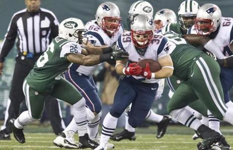 Patriots running back Danny Woodhead was part of a strong first-half running game.