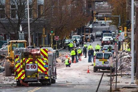 The scene on Worthington Street after the natural gas explosion.