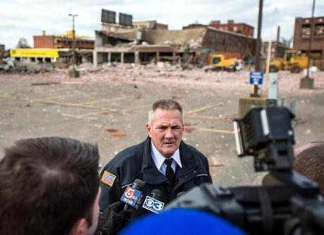 Dennis Leger, an aide to the fire commissioner of Springfield, spoke to the media.