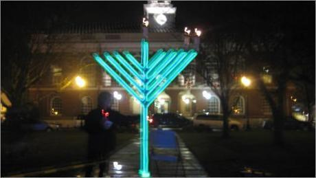 The traditions of Judaism get a fanciful update every year from the Chabad Jewish Center in Needham, with its annual Menorah Lighting Ceremony on the Town Common.  Last year's menorah theme was glow-in-the-dark.
