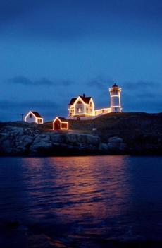 The Nubble Light in York is festively decorated for the holidays.