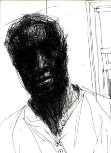 """Self Portrait #4"" detail, from John Wilson's 1997 ink drawing."