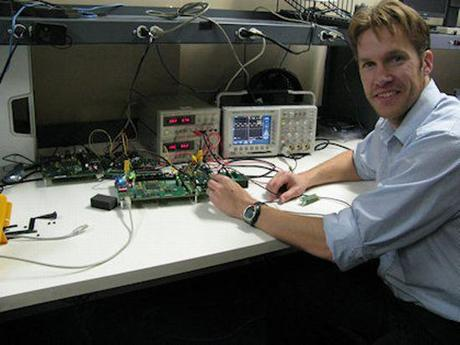 Andreas Olofsson, founder and chief executive of Adapteva, of Lexington, worked at a company test bench.