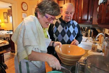 Dorina Rossi O'Connell, left, and her 88 year old uncle, Al Botti, began making the filling for the anolini.