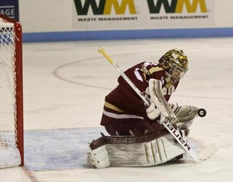 BC's Parker Milner, in position to deny this BU shot in the first period, finished with 30 saves in a losing effort.