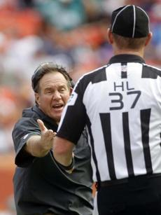 Patriots head coach Bill Belichick argued a call with head linesman Jim Howey during the first half.
