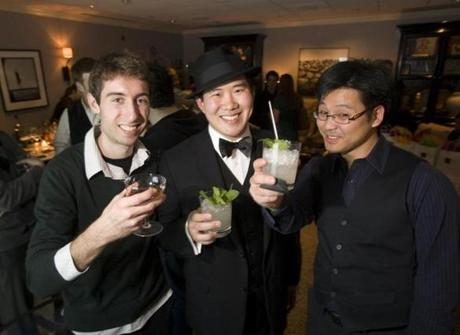 Harvard students Jose Ordovas, Ryan Lee, and Jimmy Khaw, all of Boston, at Repeal Night at the Hawthorne: A Farewell to Bathtub Gin, which celebrated the 79th anniversary of the end of the Prohibition.