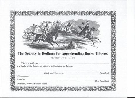 A copy of a certificate issued to members of this society.