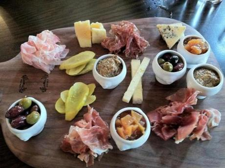Charcuterie platter at the newly renovated OAK Long Bar + Kitchen at the Fairmont Copley Plaza.