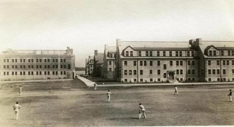 This photo from Joel Winslow's collection shows inmates playing a baseball game at the Norfolk State Prison Colony.
