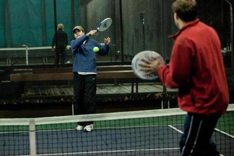 Grant Elliot warmed up for a match of platform tennis at the Concord Country Club.