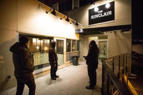 Shortly before its opening on Wednesday night, the sign arrived for the entrance to the Sinclair, a neighbor to another music venue, Club Passim.