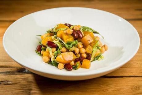 The yellow beet, chick pea, and navy bean dish at Belly Wine Bar in Cambridge.