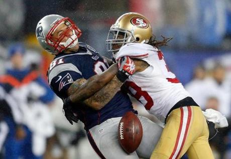 Dashon Goldson broke up this pass intended for Aaron Hernandez in the second half.