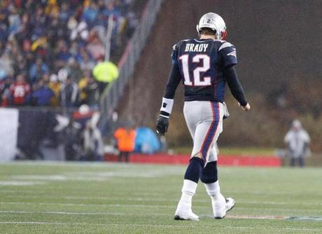 Brady left the field during a timeout in fourth quarter.