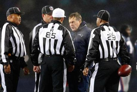 Bill Belichick reacted to an official's call in the second quarter.