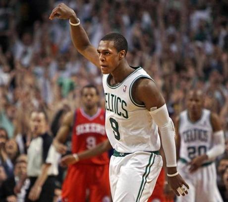 Rajon Rondo and the Celtics celebrated a Game 7 win at home against the 76ers in May.