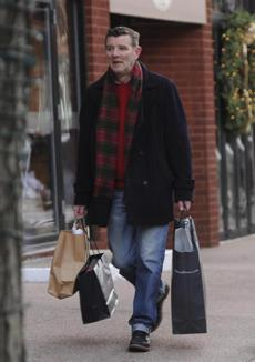 John Shea shopped on Newbury Street, where stores were busy.