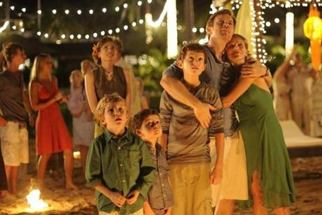 "From left: Samuel Joslin, Oaklee Pendergast, Tom Holland, Ewan McGregor, and Naomi Watts in ""The Impossible."""