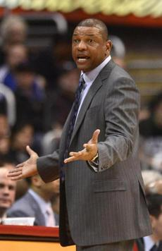 Coach Doc Rivers reacted during the second half of the game. The Clippers won 106-77 and have won 15 straight games.
