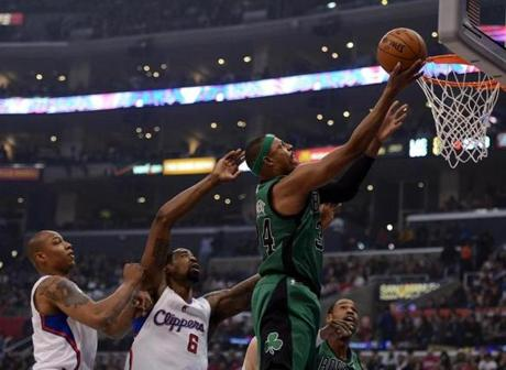 Paul Pierce scored on a layup in front of DeAndre Jordan and Caron Butler.