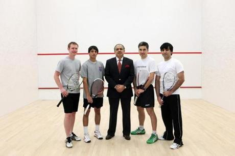 From left, Paul Mathieson, manager of Dover Squash & Fitness; Farhan Zaman; Mahmud Jafri, owner of the Dover Rug and Home and the club; Thierry Lincou, pro squash champion; and Arshad Iqbal Burki. Mahmud Jafri built the Dover Squash and Fitness club adjacent to his store.