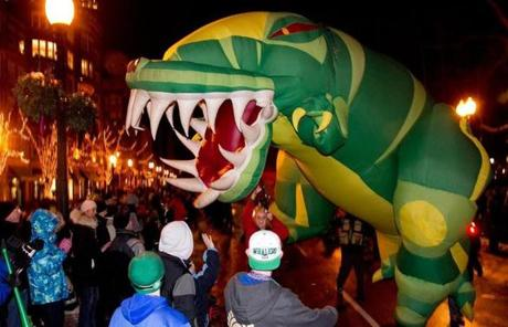 An inflatable dinosaur was seen in Boston.