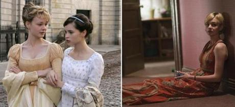 "Carey Mulligan (left, with Felicity Jones) in ""Northanger Abbey"" and in ""Drive."""