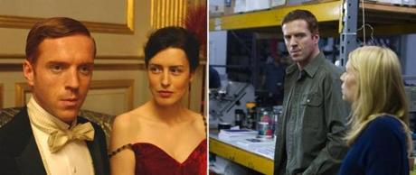 "Damian Lewis (left, with Gina McKee) in ""The Forsyte Saga"" and (with Claire Danes) in ""Homeland."""