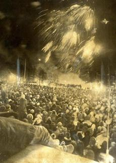 December 31, 1976: Fireworks crowned New Year's festivities on Boston Common that attracted 30,000 celebrants.