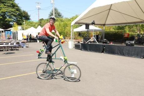 Edgers on a tall-bike made famous by Portlanders - and prepares his lance for tall-bike jousting.
