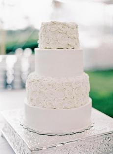 The newlyweds wanted the candy and dessert bars to take center stage, so they opted for simplicity when it came to their wedding cake. Inspired by an online design, the bride chose a simple rose pattern.