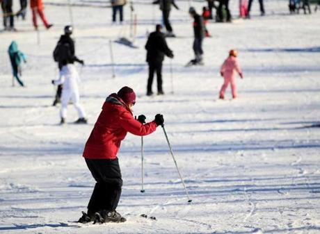 Ann Dirr skied with other beginners.