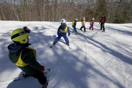 Young people learned to ski at Sunday River.