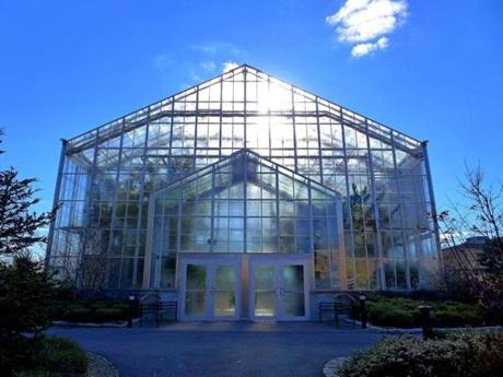 The glass houses of the Botanical Center at Roger Williams Park.