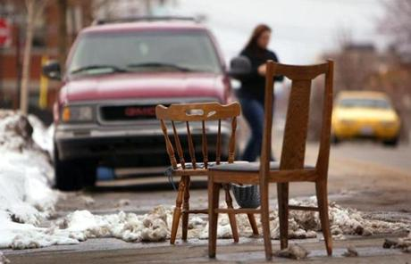 Wooden chairs in East Boston.